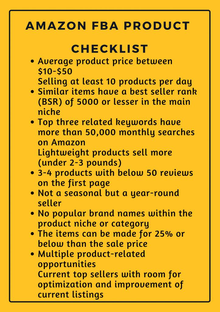 Amazon product research checklist