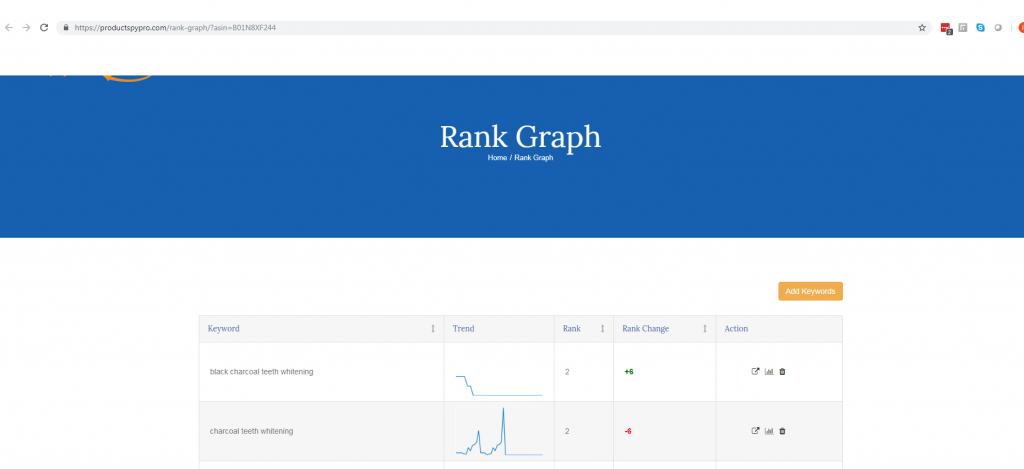 amazon product rank tracker graph